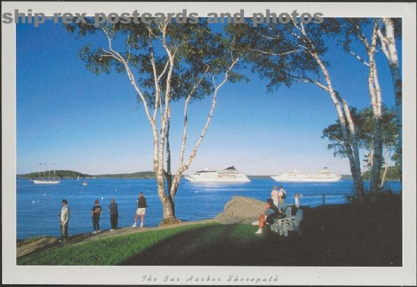 Bar Harbor, Maine, cruise ships, postcard